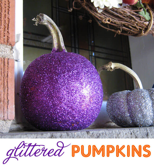 Bedazzle Pumpkins with Glitter | DIY Indoor Halloween Decorating Ideas