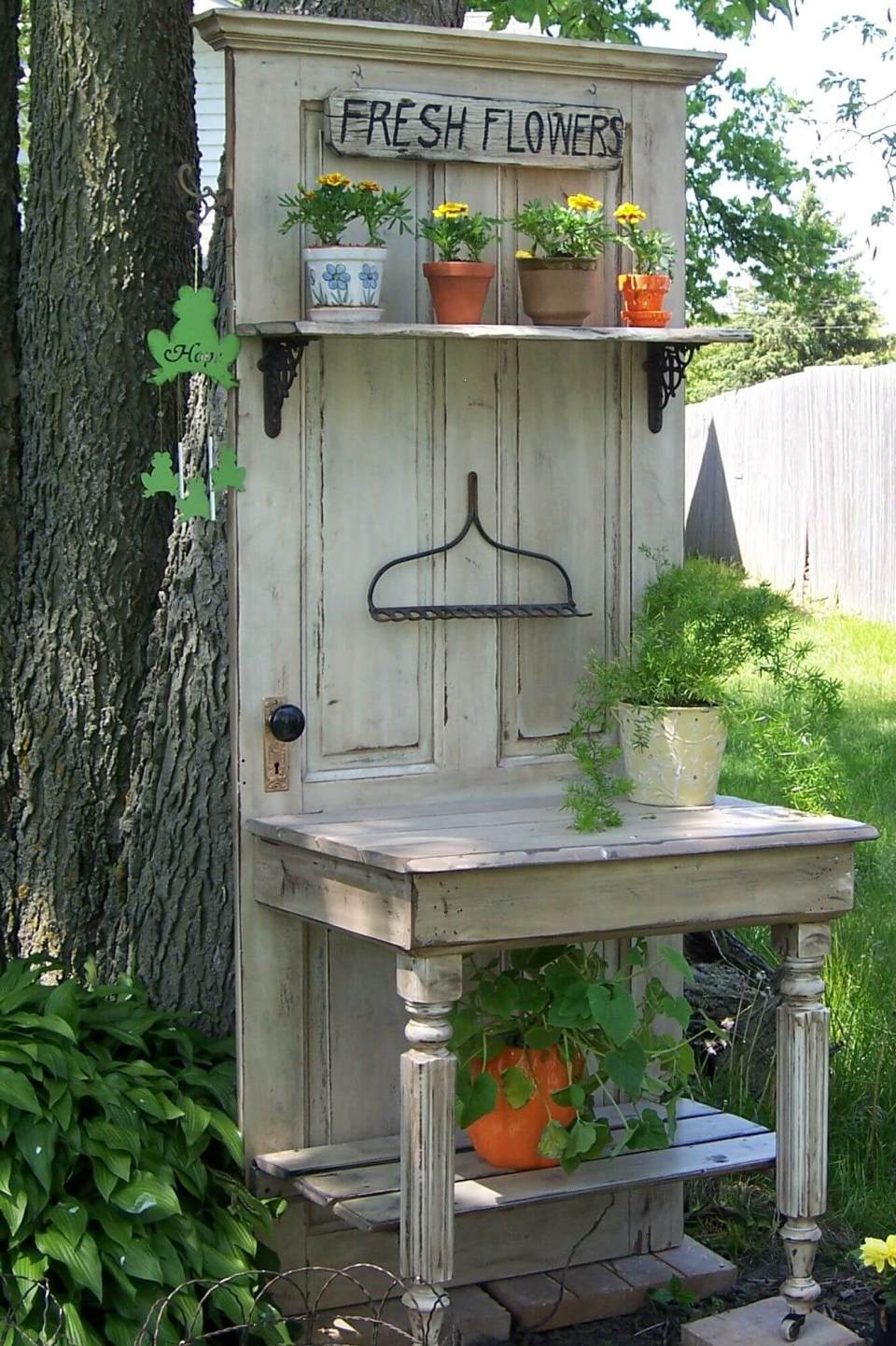 Potting Bench with Reclaimed Door