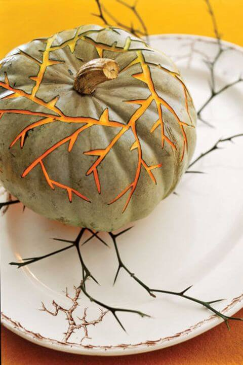DIY Pumpkin Carving Ideas: Vine Branch