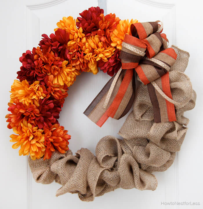 Fall Burlap Flower Wreath