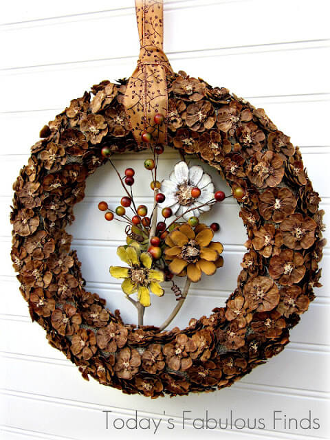 Fall Pine Cone Flower Wreath Tutorial