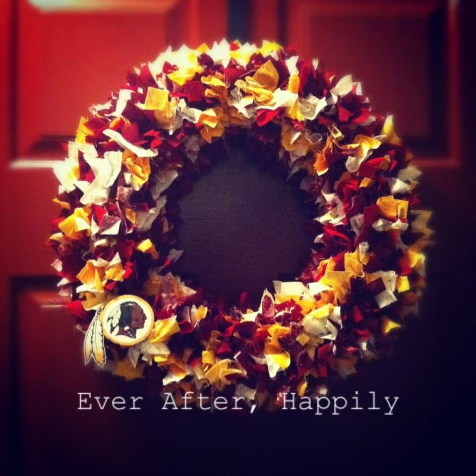Fall Rag Wreath for Redskin Fans