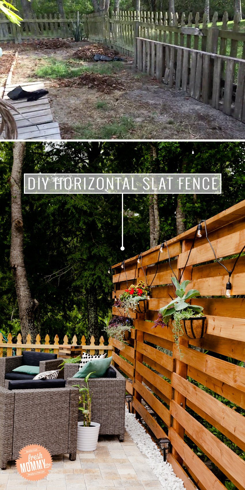 DIY Fence ideas: Horizontal Slat Fence