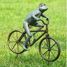 Frog on Bicycle Garden Statue | Bicycle Garden Planter Ideas For Backyards | FarmFoodFamily