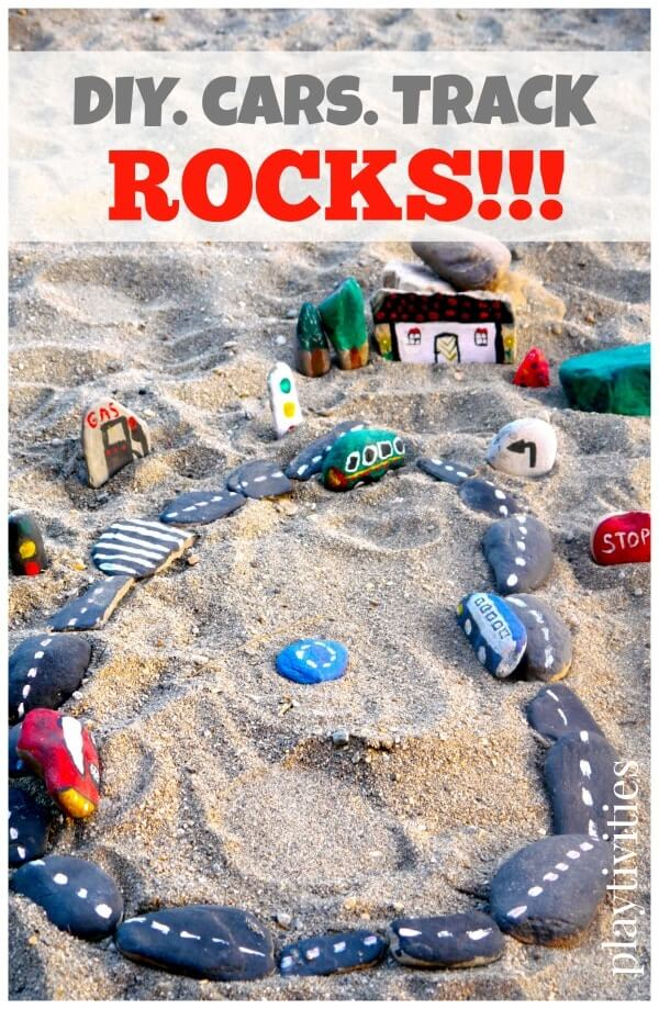 Car track rocks | DIY Race Car Tracks for Kids - FarmFoodFamily