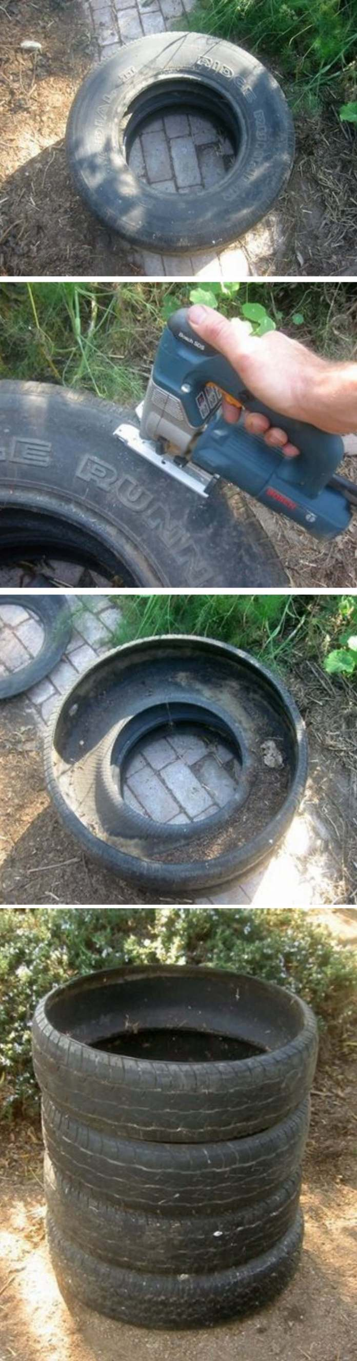 Used Tire Compost Bin | Easy Compost Bins You Can DIY On Very Low Budget - FarmFoodFamily.com