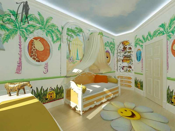 Zoo wall decorating | Cool Zoo Themed Bedroom Ideas For Kids or Nursery