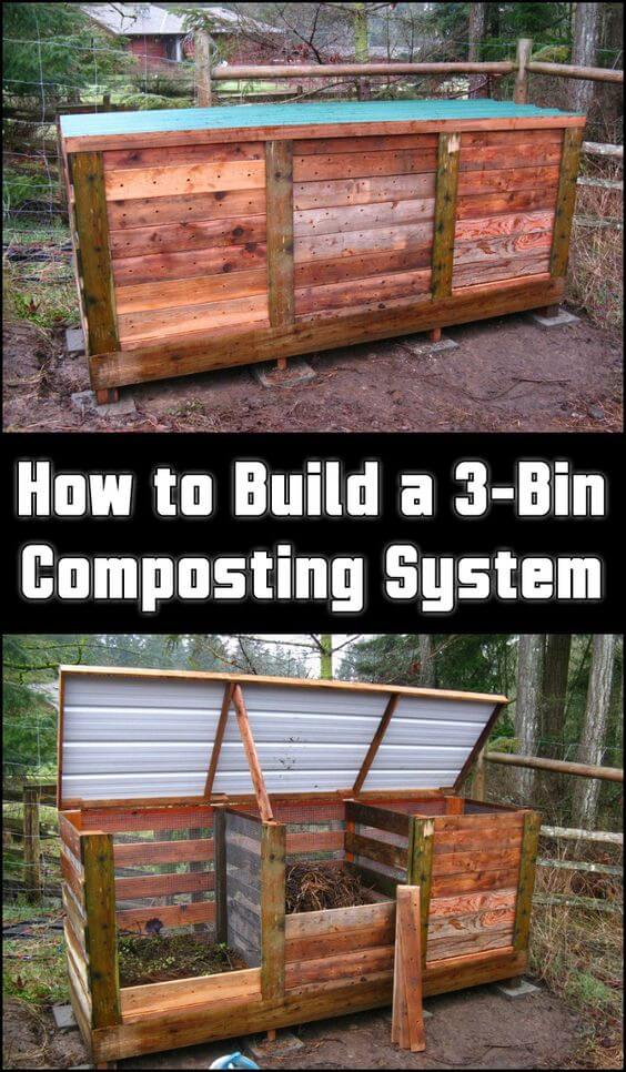 Build 3-bin Composting system | Easy Compost Bins You Can DIY On Very Low Budget - FarmFoodFamily.com