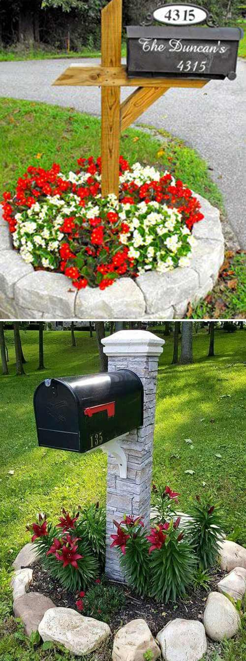 Stone Edging around Mailbox | Cool Round Garden Bed Ideas For Landscape Design - FarmFoodFamily.com #raisedgarden #raisedgardenbed #gardenbed