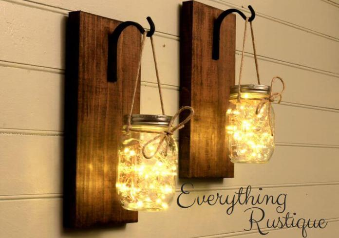 Mason Jar Sconce | Creative DIY Garden Lantern Ideas - FarmFoodFamily.com