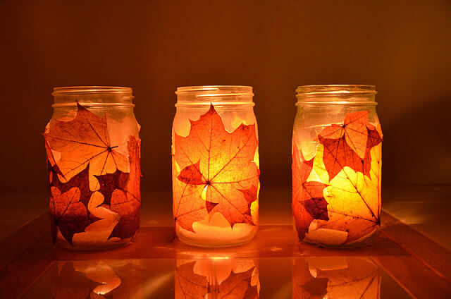 Autumn Lantern | DIY Fall-Inspired Home Decorations With Leaves - FarmFoodFamily