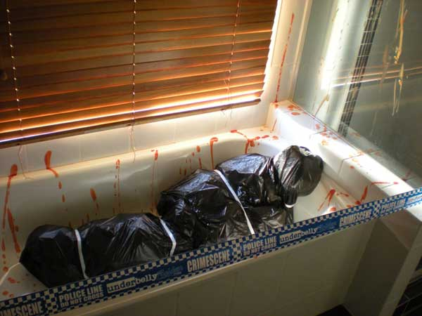 Bathroom fake corpse garbage bags
