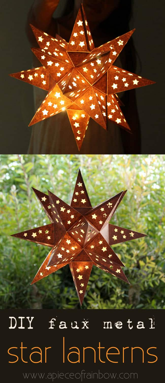DIY Faux Metal Star Lantern | Creative DIY Garden Lantern Ideas - FarmFoodFamily.com