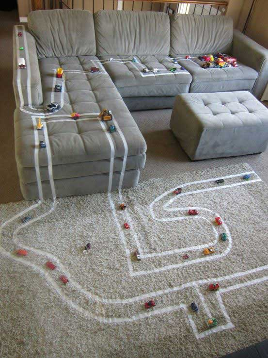 A tape track | DIY Race Car Tracks for Kids - FarmFoodFamily