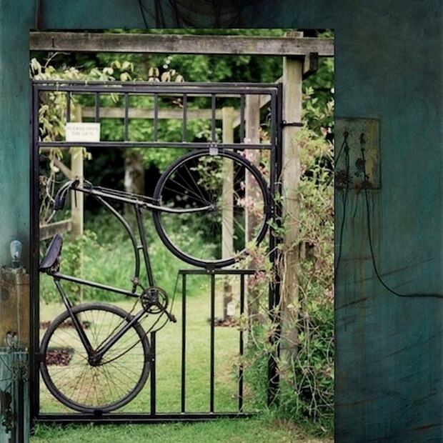 Bicycle gate | Bicycle Garden Planter Ideas For Backyards | FarmFoodFamily