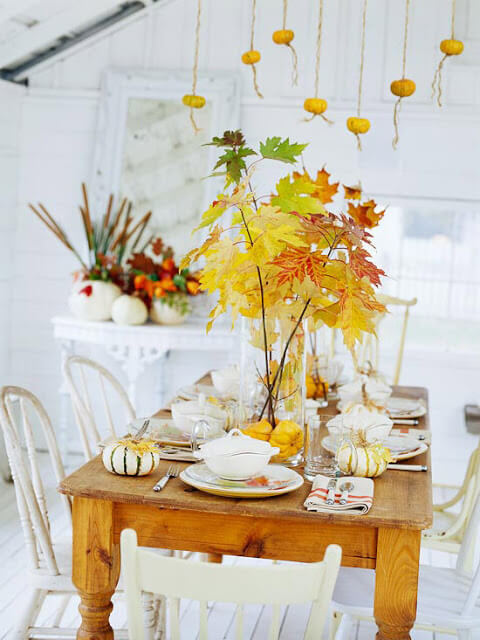 Autumn tablescape | DIY Fall-Inspired Home Decorations With Leaves - FarmFoodFamily