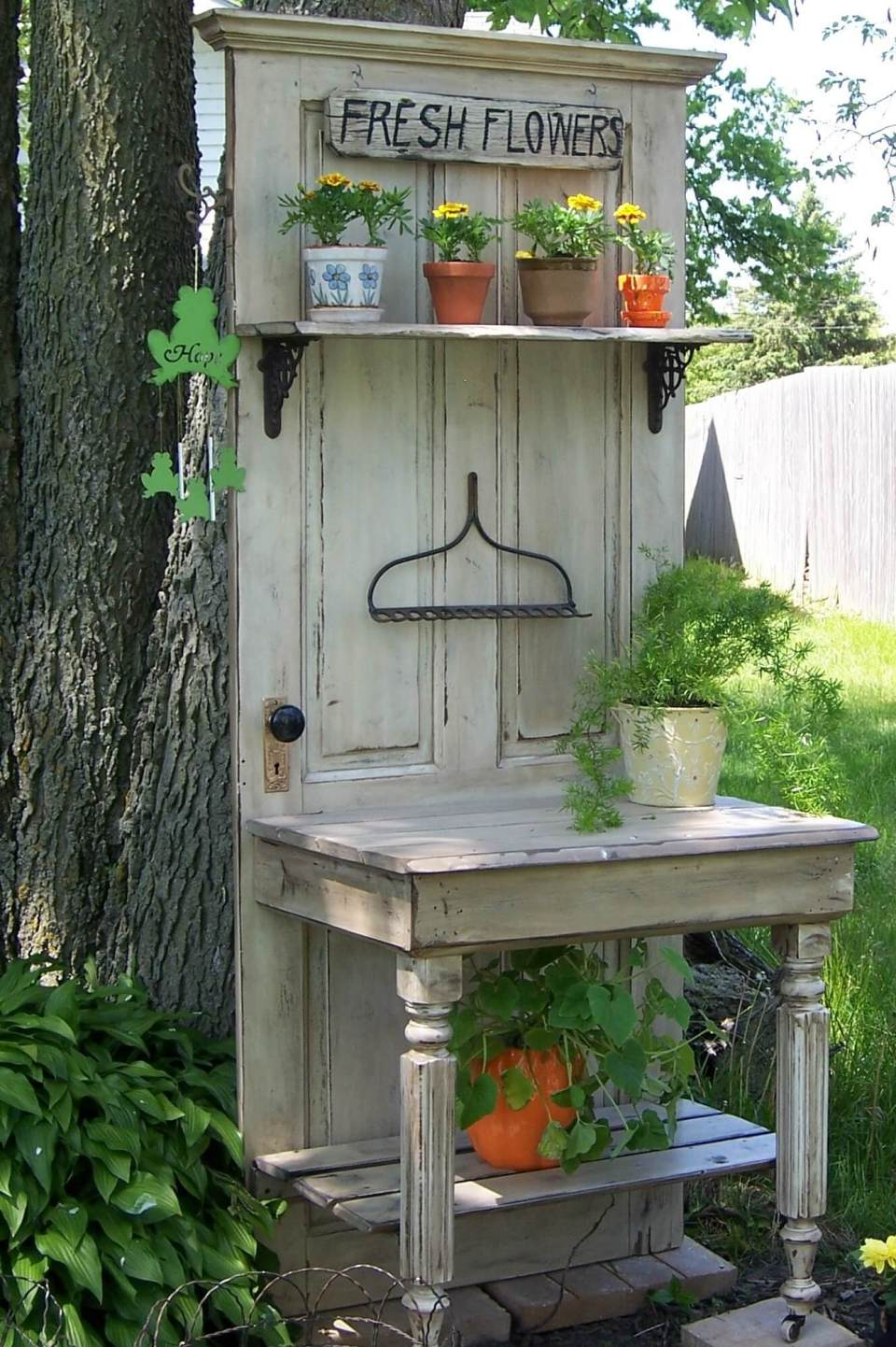 Potting Bench | Creative Repurposed Old Door Ideas & Projects For Your Backyard