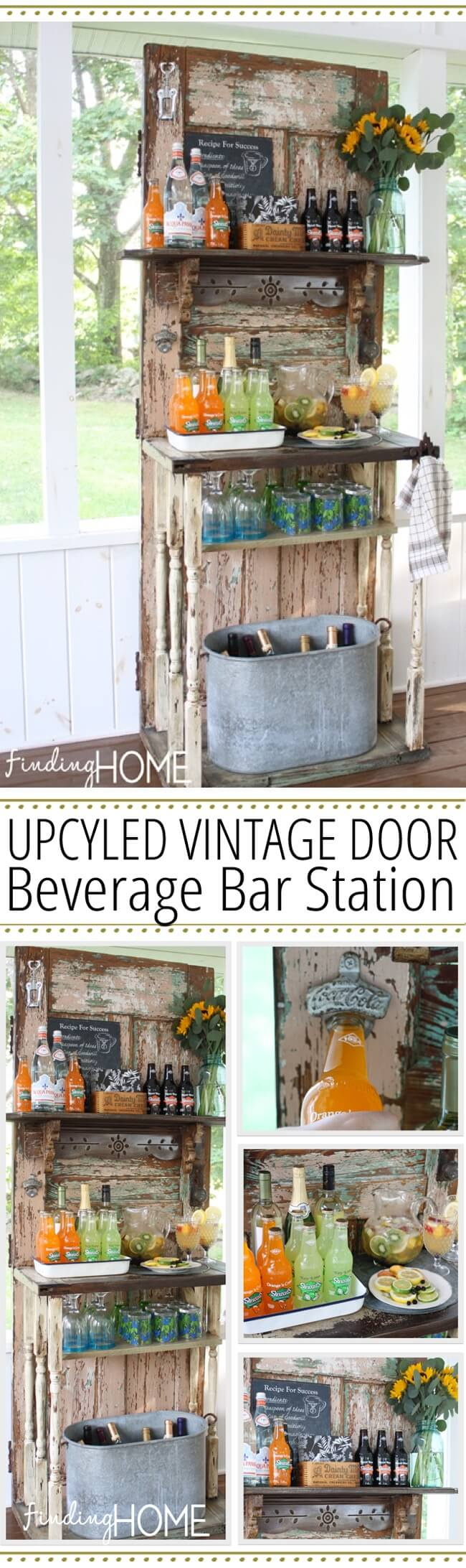 Upcycled Vintage Door Beverage Bar Station | Creative Repurposed Old Door Ideas & Projects For Your Backyard