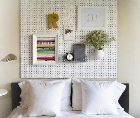 DIY Pegboard Headboard | DIY Headboard Decoration Ideas for Bedroom