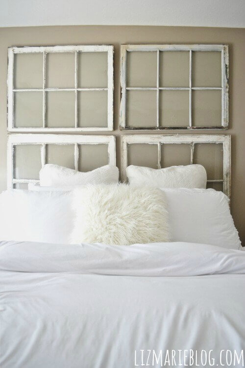 DIY Antique Window Headboard | DIY Headboard Decoration Ideas for Bedroom