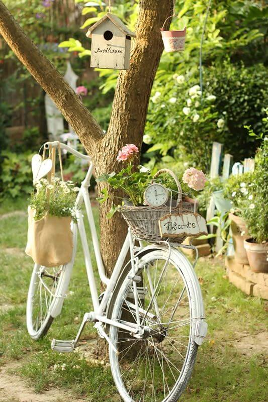 Romantic Bicycle Wedding | Bicycle Garden Planter Ideas For Backyards | FarmFoodFamily