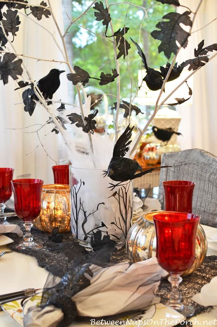 Halloween Tablescape with a Crow Tree Centerpiece | Fun & Spooky Halloween Table Decoration Ideas - FarmFoodFamily.com