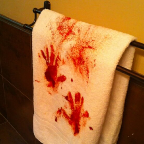 Bloody Handprints Towel | Last-Minute Halloween Crafts and Hacks | FarmFoodFamily.com