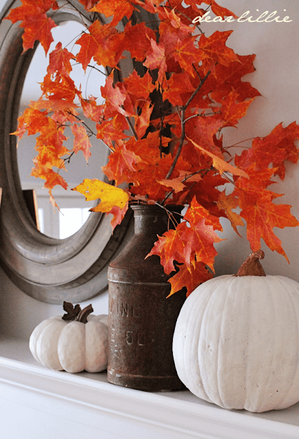 Upgrade fall mantel | DIY Fall-Inspired Home Decorations With Leaves - FarmFoodFamily