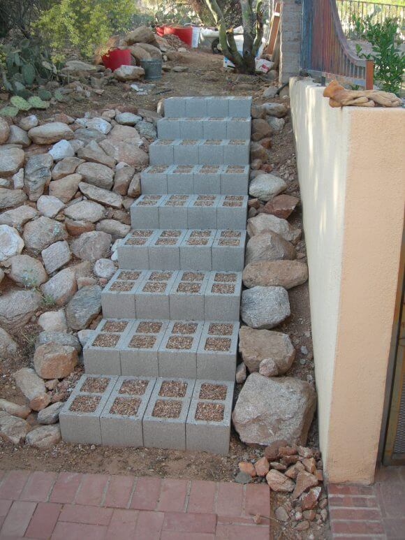 Concrete Blocks Garden Stair | Creative Garden Step & Stair Ideas | FarmFoodFamily