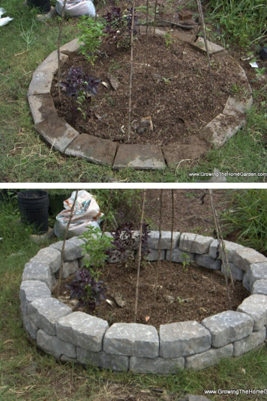 Stone garden bed | Cool Round Garden Bed Ideas For Landscape Design - FarmFoodFamily.com #raisedgarden #raisedgardenbed #gardenbed