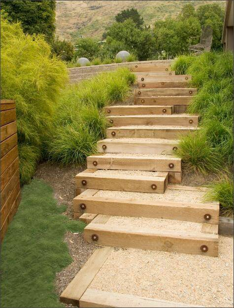 Garden Stair Made of Wood and Garvel | Creative Garden Step & Stair Ideas | FarmFoodFamily