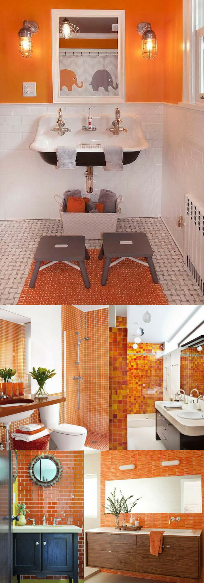Orange Wall | Unique Wall Tile Ideas for Bathroom Design