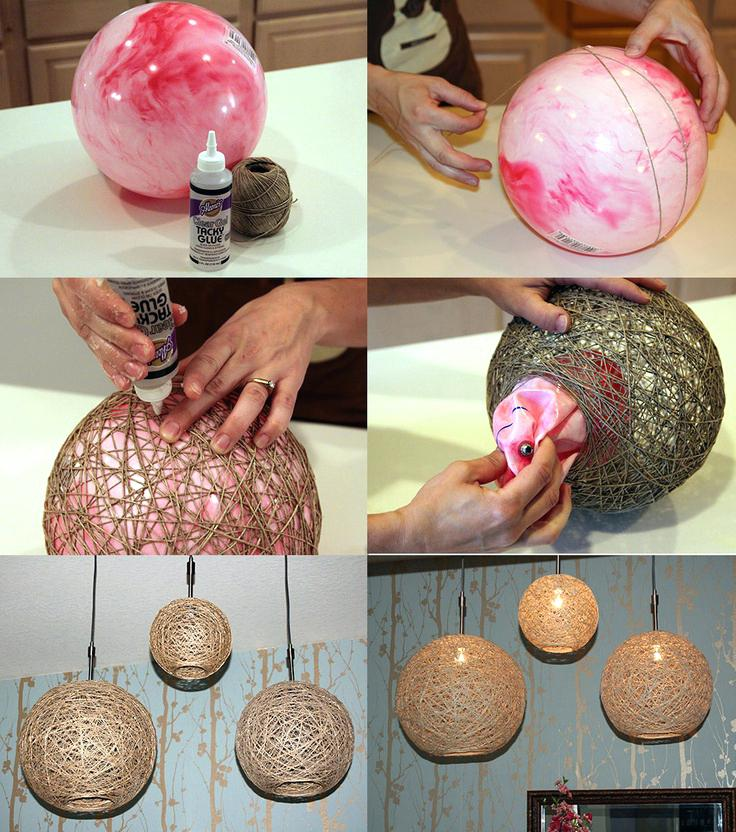 Lampshade with a bouncy ball and gluey string | Homemade Decorative Lamp Shade Ideas | FarmFoodFamily