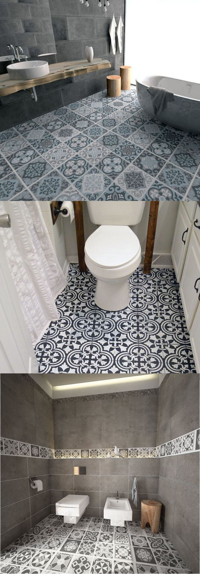 Vintage bathroom floor tile ideas