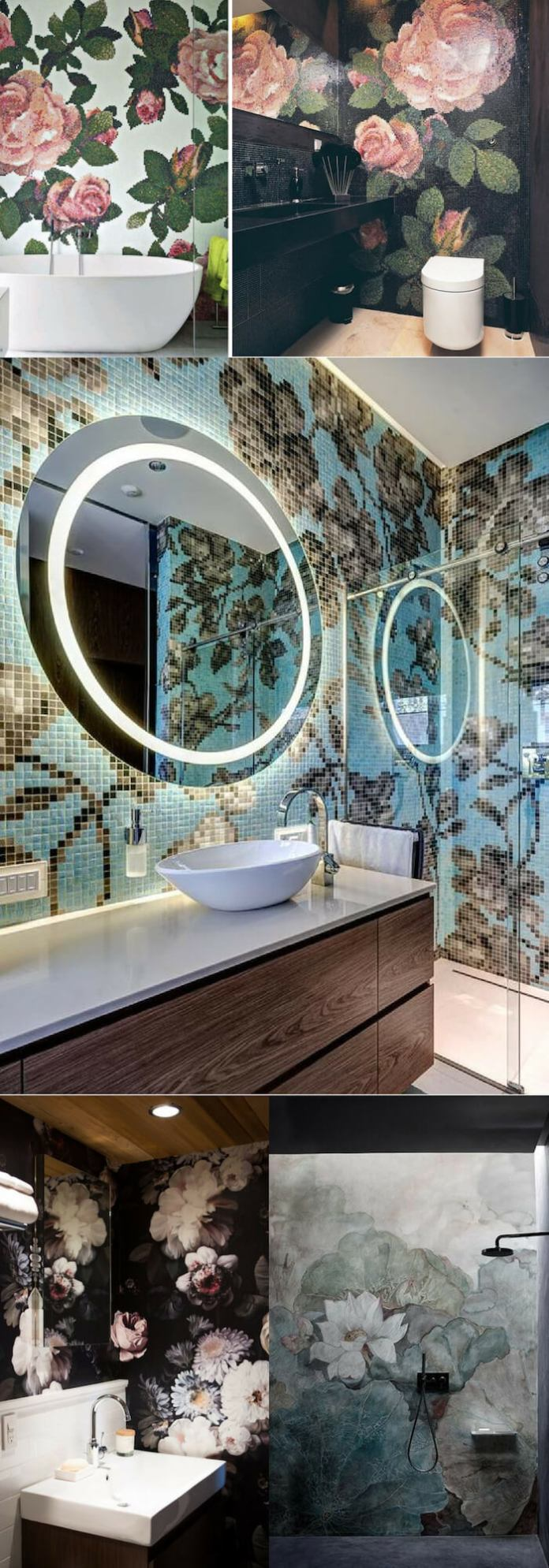 Flower wall | Unique Wall Tile Ideas for Bathroom Design
