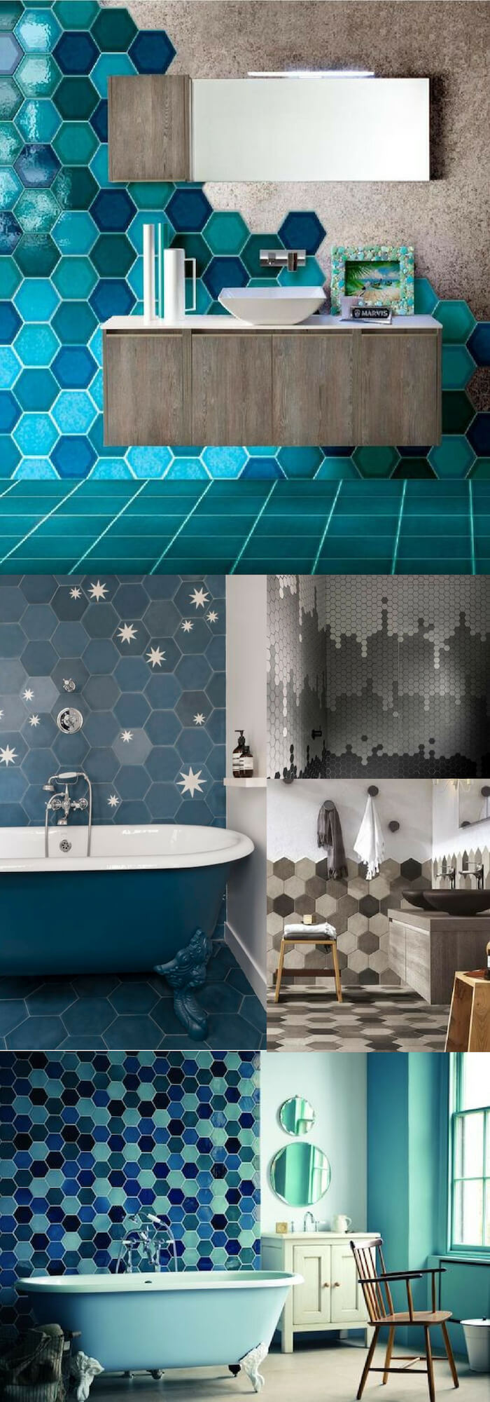 Hexagon wall | Unique Wall Tile Ideas for Bathroom Design