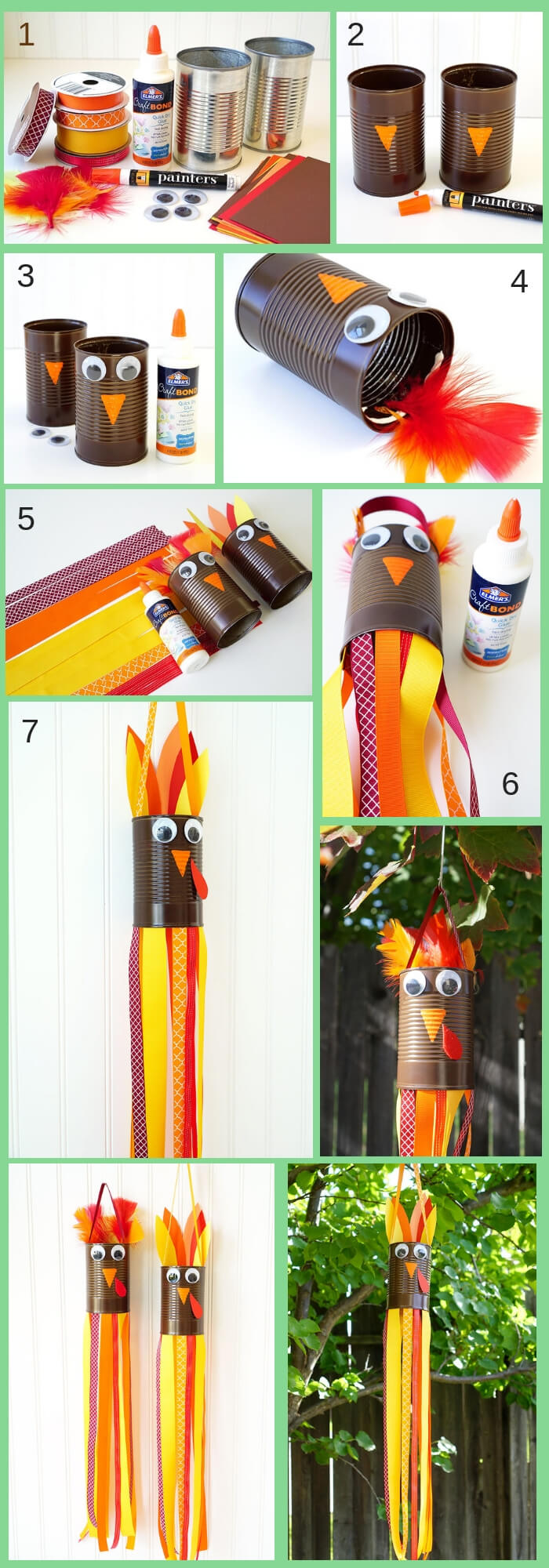 Turkey Windsocks | Simple Ideas for Kids' Crafts for Thanksgiving - FarmFoodFamily.com