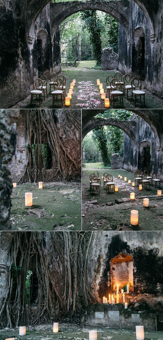 A magical wedding ceremony setup in Mexico at this unique, jungle venue | Halloween Wedding Theme Ideas - Farmfoodfamily.com