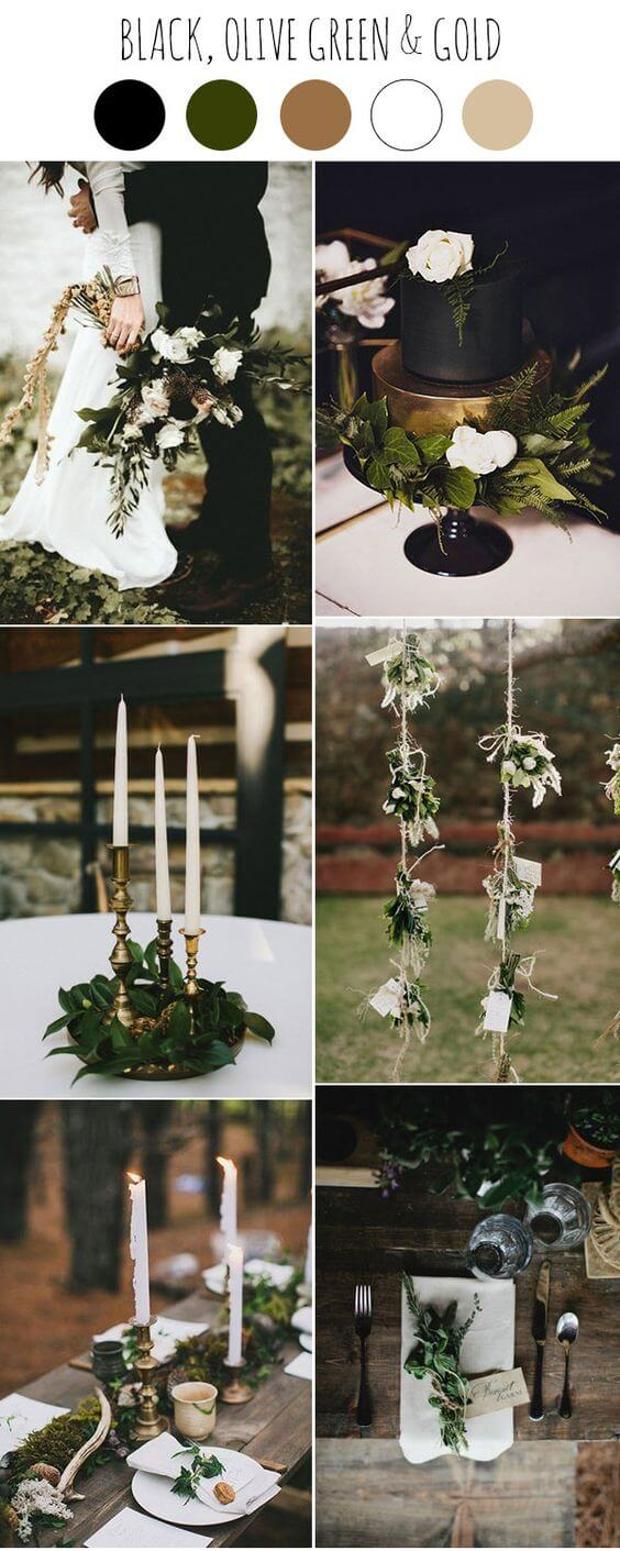 Black, gold and greenery dark moody wedding ideas | Halloween Wedding Theme Ideas - Farmfoodfamily.com