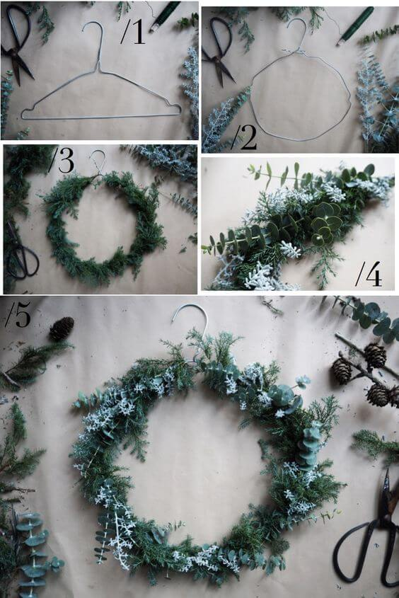 CHRISTMAS WREATH OF WIRE HANGER | Creative, Easy, and Inexpensive Christmas Wreaths | Farmfoodfamily.com