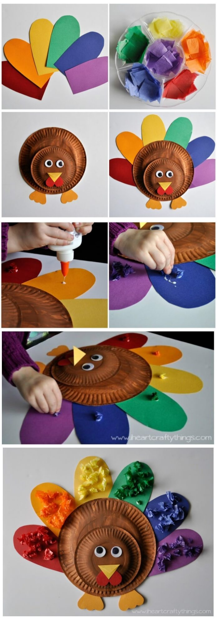 Cute and colorful kids turkey craft | Simple Ideas for Kids' Crafts for Thanksgiving - FarmFoodFamily.com
