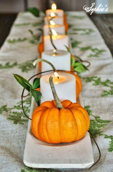 Pumpkins and Candles Tutorial | DIY Fall Candle Decoration Ideas - Farmfoodfamily.com