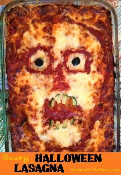 Scary face lasagna | Halloween Party Food Ideas | Halloween Party Themes For Adults