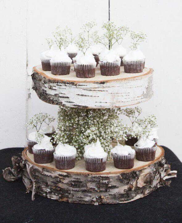 Floating Birch Cupcake Stand | DIY Wood Tree Log Decor Ideas - FarmFoodFamily.com