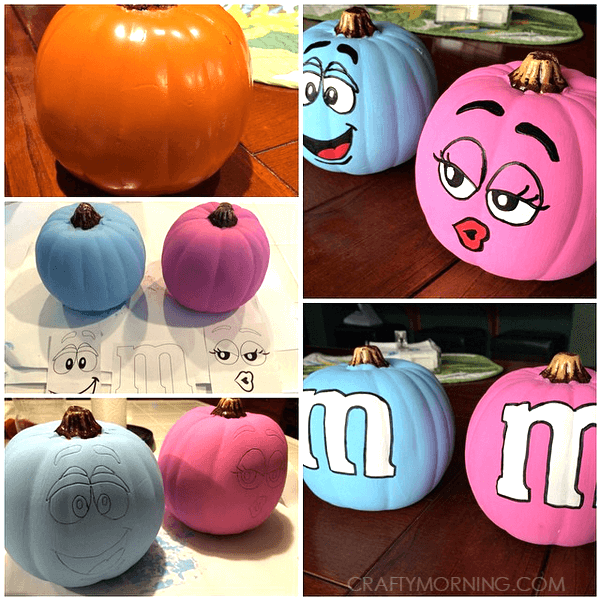 M&M Pumpkins | No-Carve Pumpkin Decorating Ideas For This Halloween