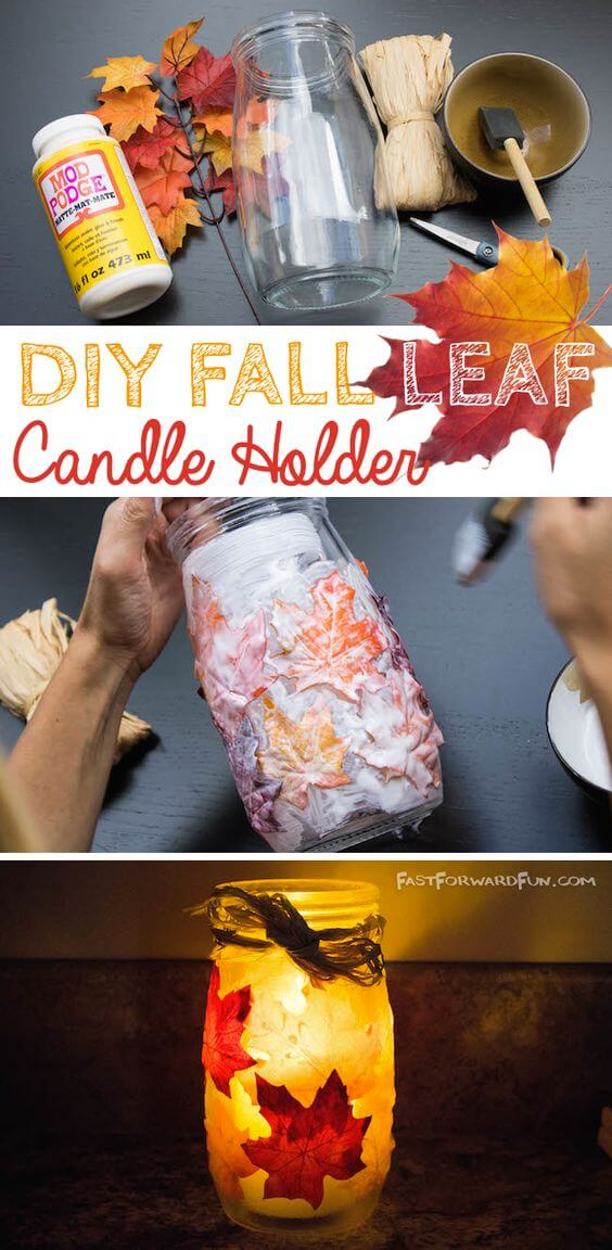 DIY Fall Leaf Candle Holder | DIY Fall Candle Decoration Ideas - Farmfoodfamily.com