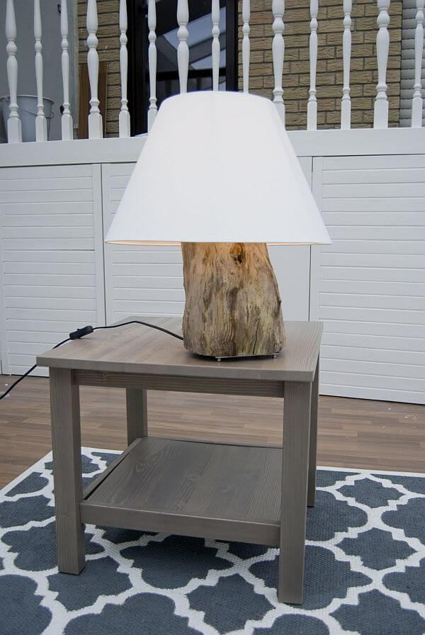 Wooden Lamp | DIY Wood Tree Log Decor Ideas - FarmFoodFamily.com