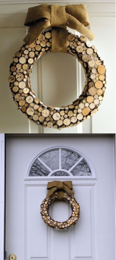 Inspired Christmas Wreath | DIY Wood Tree Log Decor Ideas - FarmFoodFamily.com