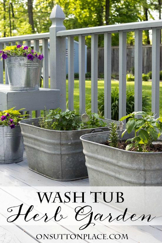 Vintage Galvanized Wash Tub Herb Garden   Flower Garden Ideas for Containers and Windowboxes