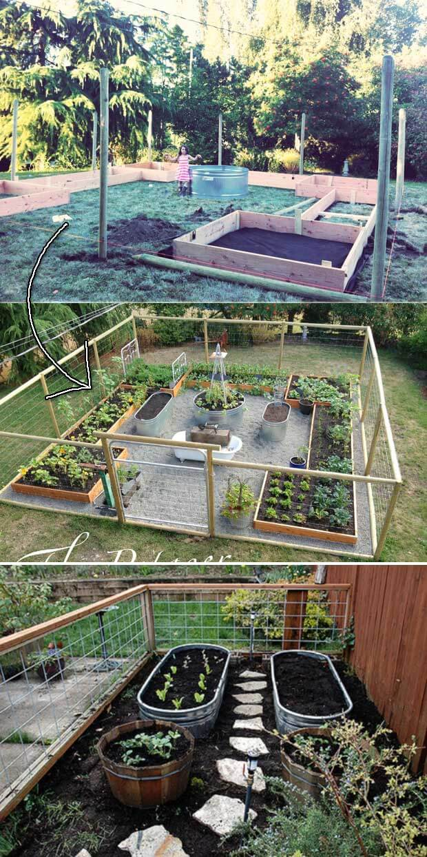 Water through garden bed | How to Build a Raised Vegetable Garden Bed | 39+ Simple & Cheap Raised Vegetable Garden Bed Ideas - farmfoodfamily.com